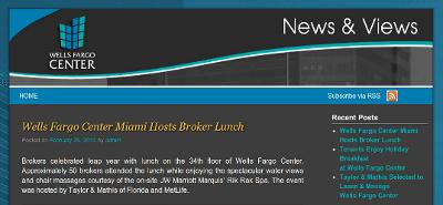 Web design Lakeland client Wells Fargo Center Miami